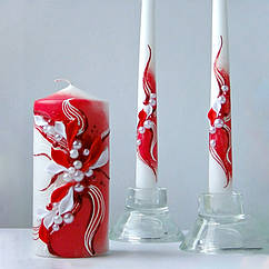 """Свадебные свечи """"Семейный очаг"""" в красном цвете"""