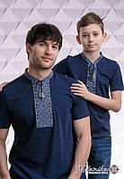 Комплект вишитих футболок для батька та сина  «Козацька (синя вишивка)»