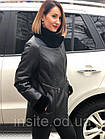 Дубленка Женская Черная 75см Зерно 050МК Асимметрия, фото 8