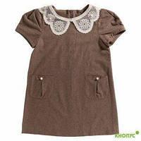 "Платье-сарафан для девочки, ""Лане"" (коричневое), New Point, размер 116"