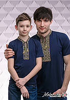 Комплект вишитих футболок для батька та сина  «Козацька (зелена вишивка)»