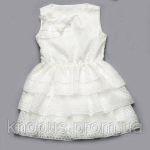 Платье для маленькой девочки белое, Модный карапуз, размер 98