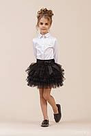 Юбка многослойная для девочки, черная, Зиронька. Размер 116-128