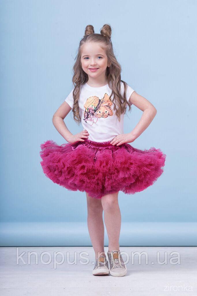 Юбка для девочки Американка малиновая в комплекте с футболкой, Зиронька. Размеры 80-110