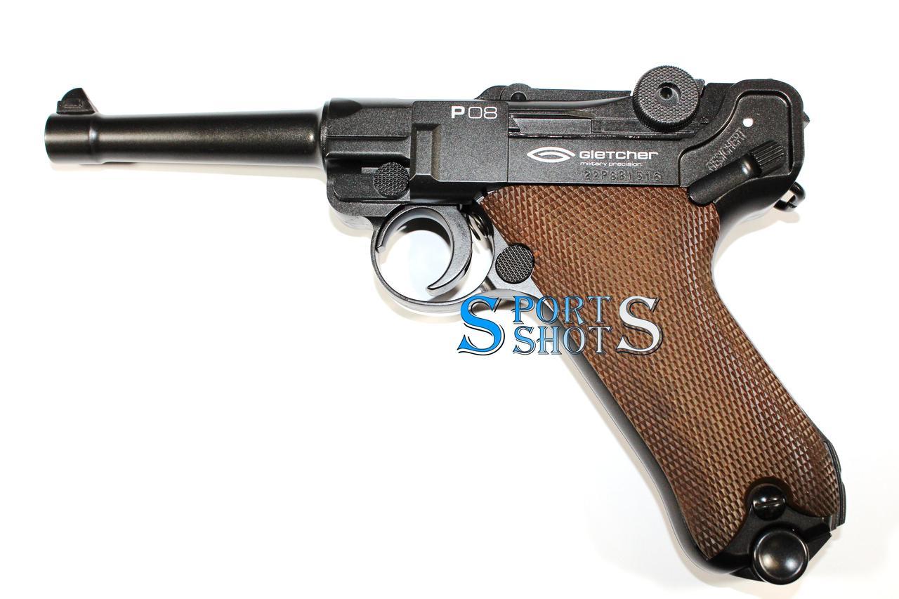 Пневматический пистолет Gletcher Luger Parabellum P08 Blowback
