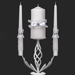 Набор свадебных свечей в белом цвете