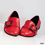 Стильные кожаные красные женские туфли из итальянской кожи с пряжкой, фото 4