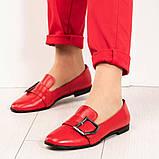 Стильные кожаные красные женские туфли из итальянской кожи с пряжкой, фото 6