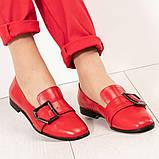 Стильные кожаные красные женские туфли из итальянской кожи с пряжкой, фото 2