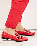 Стильные кожаные красные женские туфли из итальянской кожи с пряжкой, фото 7