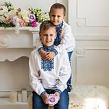 Детская вышиванка для мальчика с синей вышивкой , фото 3