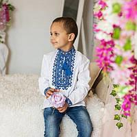 Детская вышиванка для мальчика с синей вышивкой , фото 1