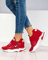 Сникерсы женские кожаные красные, фото 1