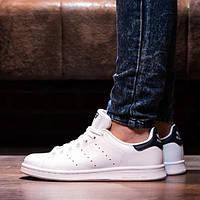 Мужские кожаные белые кроссовки в стиле Adidas Stan Smith White Black(Реплика ААА+), фото 1