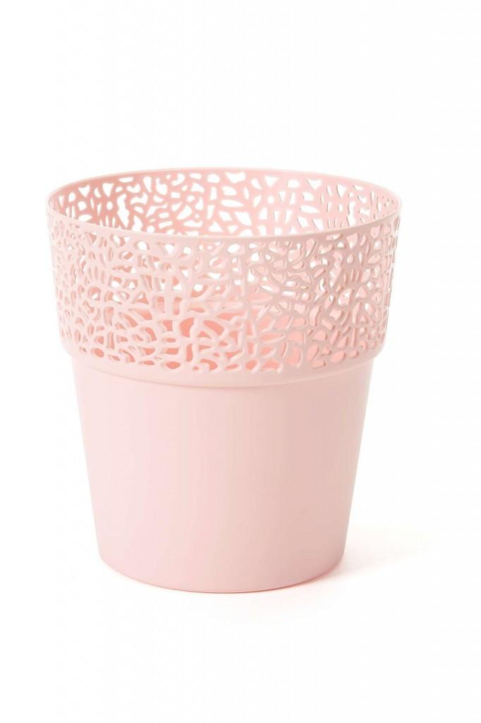 Горщик для квітів ажурний,РОССА, 130мм, (Рожевий)