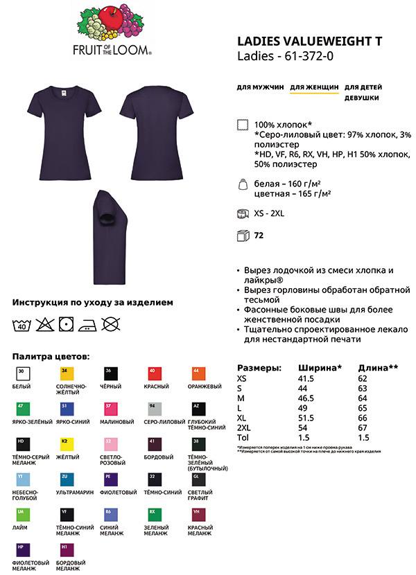 Таблица размеров женской футболки Fruit of the Loom