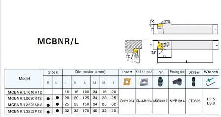 MCBNR2525M12 Резец (державка) токарный проходной, фото 2