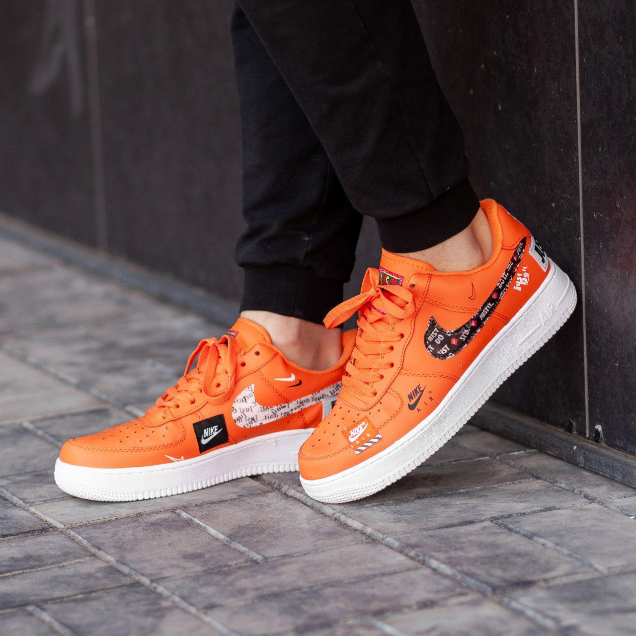 Кроссовки мужские в стиле Nike Air Force Just do it Orange (Реплика ААА+)
