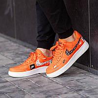 Кроссовки мужские в стиле Nike Air Force Just do it Orange (Реплика ААА+), фото 1