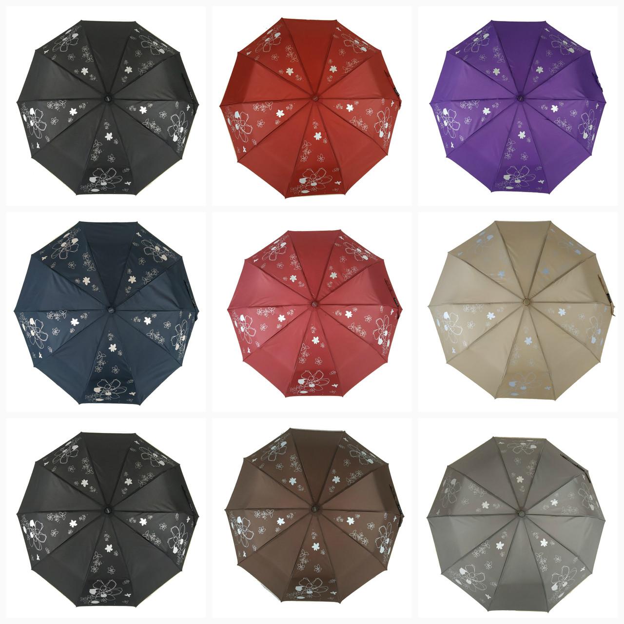 """Женский зонт полуавтомат на 10 спиц Max, модель """"Lilu"""", с изображением цветов, 114"""