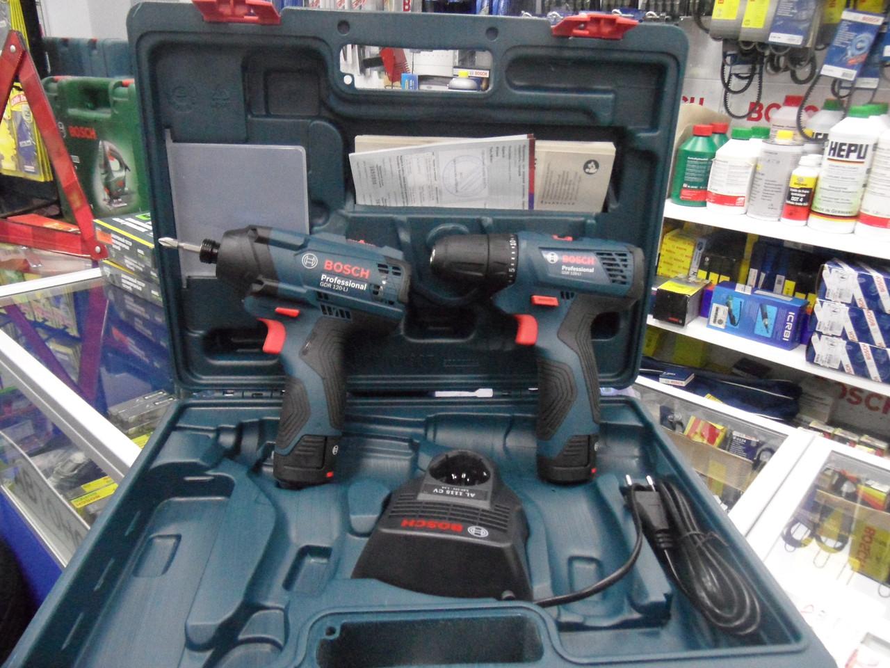 Набор аккумуляторной техники Bosch Professional ударный гайковерт GDR 120-Li + дрель-шуруповерт GSR 120-Li
