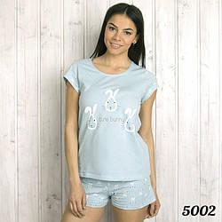 """Голубой комплект-двойка женский: футболка и шорты """"Кролик"""" Pink Secret Турция PK5002blue"""