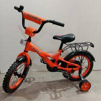 """Велосипед 14"""" дюймов 2-х колесный Crosser C7 оранж, сиденье с ручкой,доп.колеса, багажник, звоночек"""