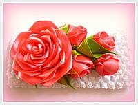 Повязка для волос с розами, ручная работа