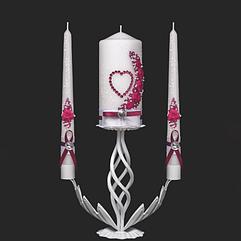 Набор свадебных свечей в бордовом цвете