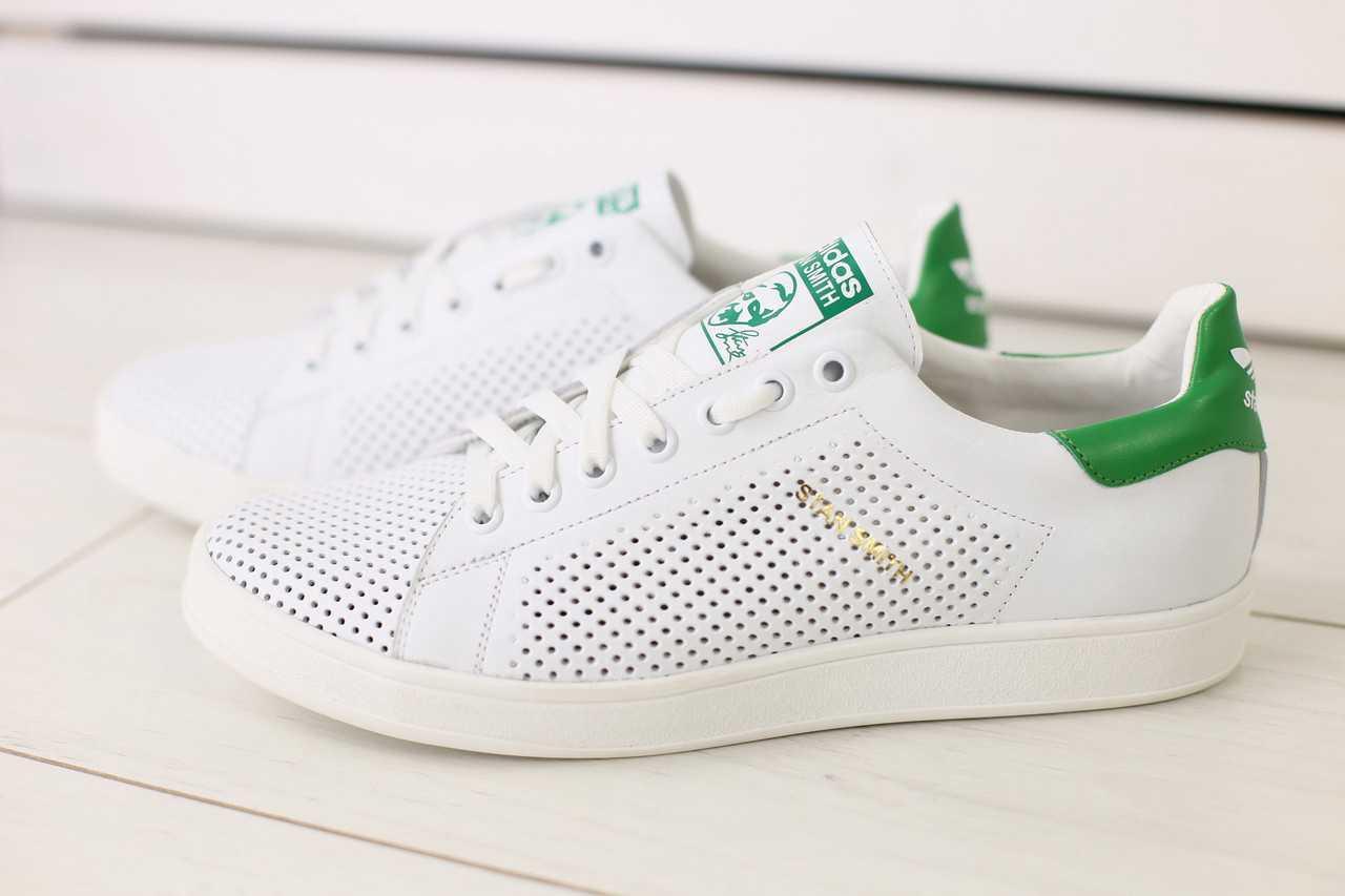 Кеды мужские Adidas Stan Smith на лето из кожи легкие стильные практичные с перфорацией белые, ТОП-реплика