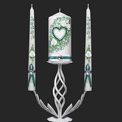 Набор свадебных свечей в изумрудном цвете