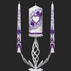 Набор свадебных свечей в фиолетовом цвете