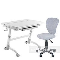 Комплект растущая парта Volare Grey + детский компьютерный стул LST2 Grey FunDesk, фото 1