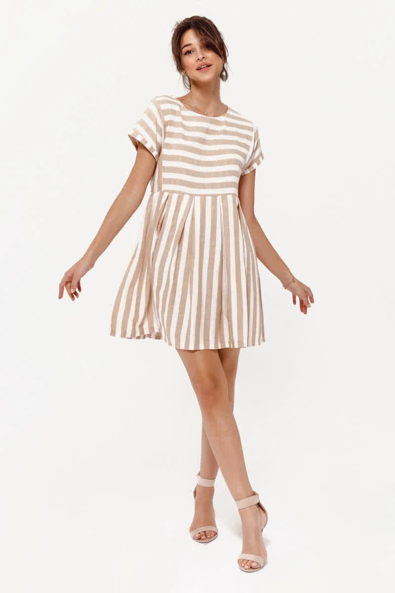 090505fc113c410 Воздушное летнее платье на каждый день, принт в полоску, новинка сезона