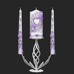 Набор свадебных свечей в сиреневом цвете