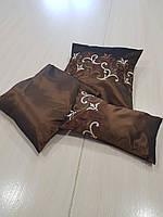 Комплект подушек шоколадные с горизонтальным узором, 3ш