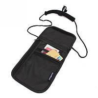 Сумка потайная для денег на шею Travel Check черная 01058/01
