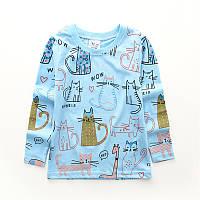Кофта детская красивая голубая хлопковая 86-116см Котики