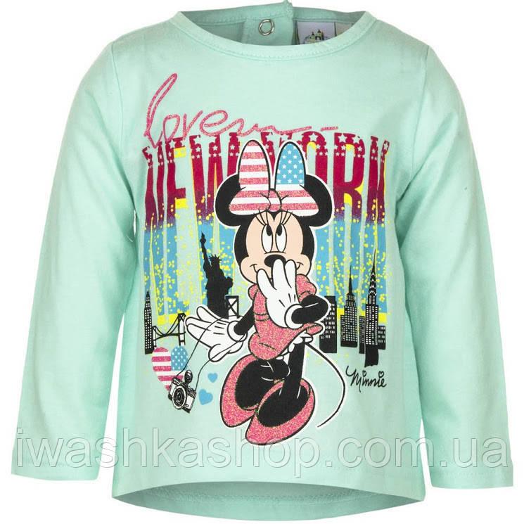 Стильний м'ятний лонгслив з Мінні Маус, Minnie Mouse на дівчаток 23 місяців, р. 86, Disney baby