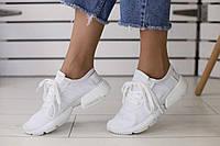 Женские летние кроссовки Adidas в сеточку удобные молодежные в белом цвете, ТОП-реплика, фото 1