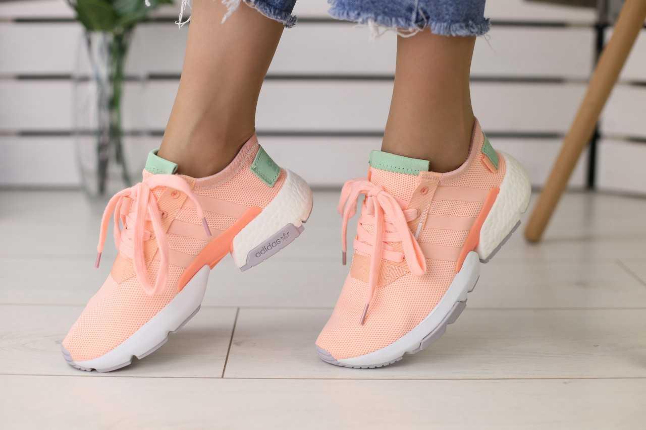 Кроссовки женские Adidas летние из сетки легкие удобные молодежные качественные (персиковые), ТОП-реплика