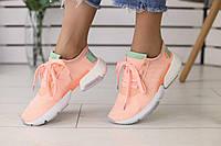 Кроссовки женские Adidas летние из сетки легкие удобные молодежные качественные (персиковые), ТОП-реплика, фото 1