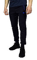 Темно-синие мужские спортивные штаны с манжетами NIKE, фото 1