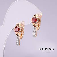 Серьги Xuping с красными камнями 20х10мм позолота 18к