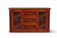 Комод с витражом Фридом 2 - дверный, 485 х 1510 х 870 цвет орех + золотая патина