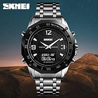 Skmei 1464 kompass pro серебристые с черным мужские спортивные часы с компасом, фото 1