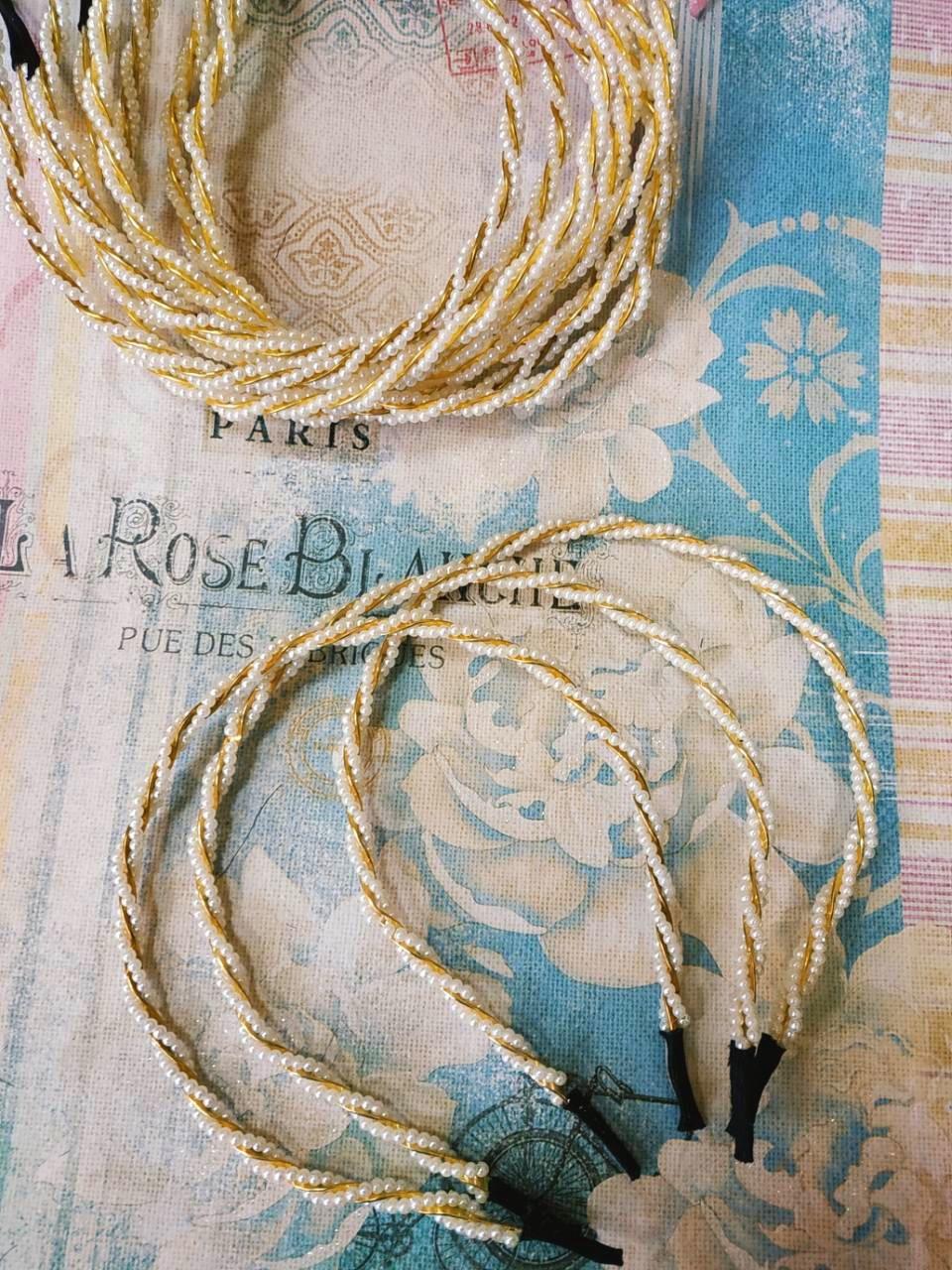 Обруч для волос, золотой с белыми бусинами, MR-350