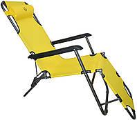 Шезлонг лежак Bonro 178 см желтый, фото 1