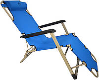 Шезлонг лежак Bonro 180 см голубой, фото 1