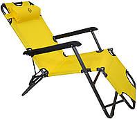 Шезлонг лежак Bonro 153 см желтый, фото 1